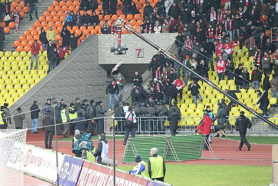 Hooligans and violence at a soccer match in Europe