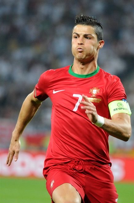 Cristiano Ronaldo with his Faux Hawk hairstyle during the Euro 2012