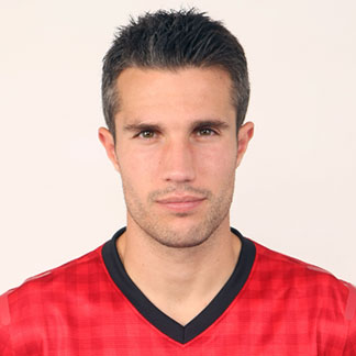 Robin van Persie with his short straight hair styled in a crew cut