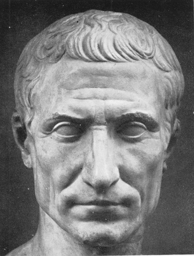 Bust of Julius Caesar illustrating the Caesar Cut hairstyle