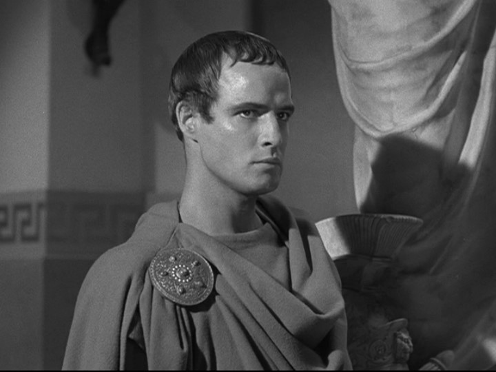 Marlon Brando sporting a Caesar Cut hairstyle for a Julius movie