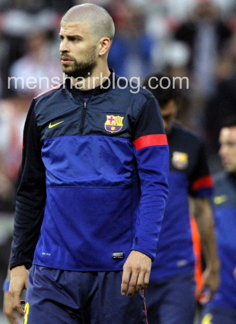 Gerard Pique with his new hair clipped to a buzz cut and not shaved against Bayern Munich