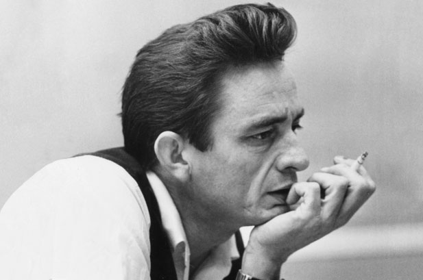 The Pompadour hairstyle as sported by rockabilly icon Johnny Cash during the 1950s.