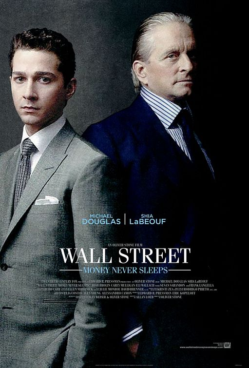 The slick back hairstyle with Michael Douglas in a poster for the movie Wall Street: Money Never Sleeps