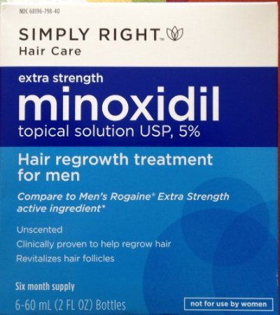 A box of minoxidil used to treat male pattern baldness
