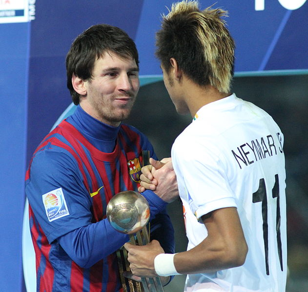 Leo Messi with Neymar Junior and his old hairstyle
