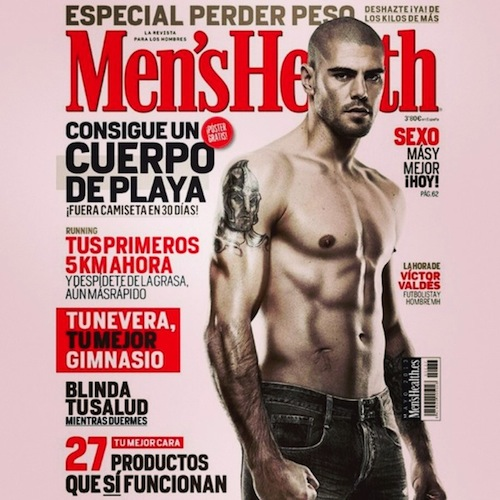 Victor Valdes with short hair posing for the Men's Health magazine.