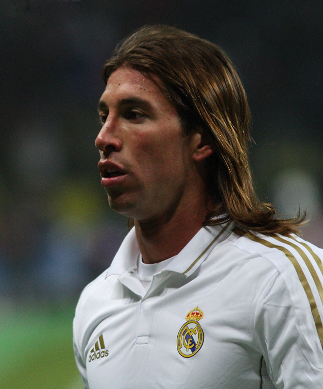 Sergio Ramos with long hair playing for Real Madrid