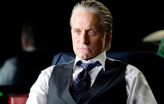 Michael Douglas with his hair in a Slick Back hairstyle