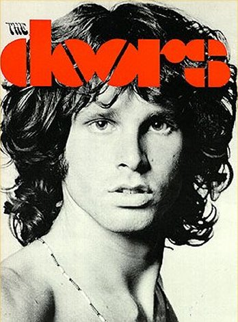 Picture of Jim Morrison on the The Doors cover with his peculiar hairstyle