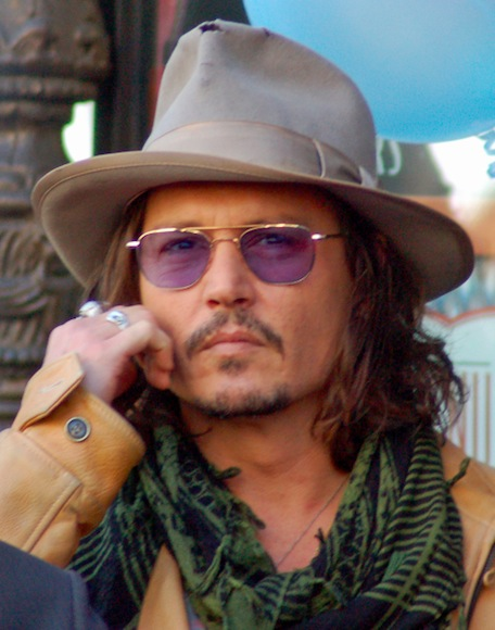 Johnny Depp with long shoulder length hair and cool hairstyle